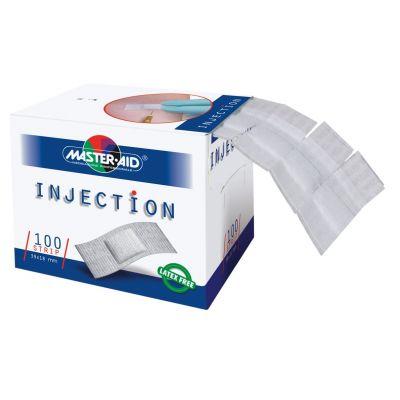 Verpackung INJECTION mit kleinen, weißen Pflastern zum Abreißen, die an der Seite entnehmbar sind