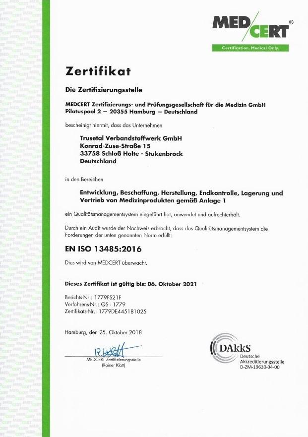 MED/CERT Zertifikat Seite 1